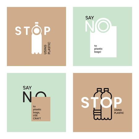Say NO to plastic bags. Stop using plastic bottles. Vector eco quotes. Plastic pollution eco problem illustration. Craft package eco friendly. Kraft paper eco package. Plastic free vector icons.