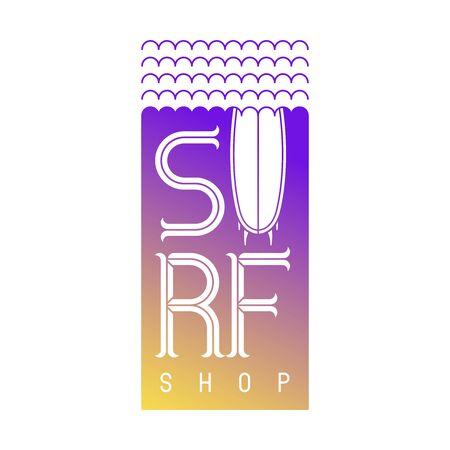 Surfing vector lettering. Surf board  emblem for Surf Shop or Club   Design Vector surfing sports camp. Trip banner, surf station, tshirts prints. Sea extreme sport.