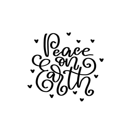 Peace on Earth vector lettering quot. Happy New Year 2020. Christmas calligraphy phrase. Vector script, emblems, text design. Usable for banners, greeting cards, gifts. Reklamní fotografie - 133550825