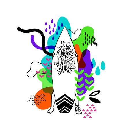 Vector cartoon illustration of man standing with surfboard. Surfing script lettering. Ocean sports surf camp, trip banner, surf station, summer t-shirt design.