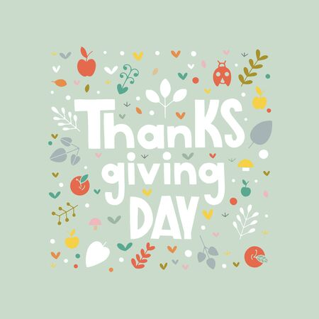 Vector Thanksgiving text typography. Vector lettering with pumpkins, apples, leaves in fall colors. Thanksgiving day type fall design perfect for prints, flyers, banners, invitations, special offer. Reklamní fotografie - 133550833