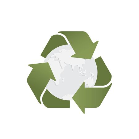 Ecology banner. Garbage recycling. Vector recycling arrows with the Earth planet. Reuse Reduce Recycle. Green vector illustration. Conscious consumption. Illusztráció
