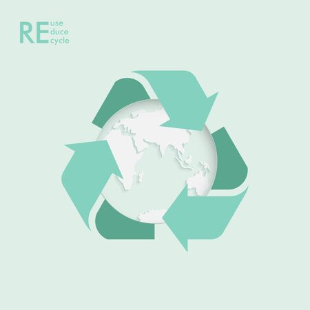 Ecology icon. Garbage recycling logo. Vector recycling arrows with the Earth planet. Reuse Reduce Recycle. Earth day. Иллюстрация