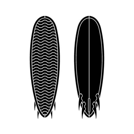Surf board set. Black and white silhouette of surfboard. Surfboard icon template. Vector illustration isolated on white background
