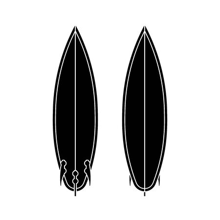 Surf board set. Black and white silhouette of surfboard. Surf board top and back view. Vector illustration isolated on white background Иллюстрация