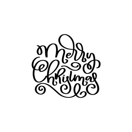 Merry Christmas vector script quot. Christmas calligraphy phrase. Vector, emblem, text design. Usable for banners, greeting cards, gifts. Reklamní fotografie - 133551249
