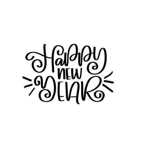 Happy New Year vector lettering quotes. Happy New Year 2020. Vector calligraphy phrase. Vector script, emblems, text design. Usable for banners, greeting cards, gifts. Reklamní fotografie - 133551251