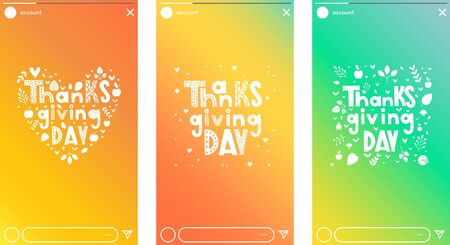 Thanksgiving typography in form of heart. Hand drawn vector lettering with stylized pumpkins, leaves and confetti on fall colors backgroun. Thanksgiving stories design, web scroll banner. Reklamní fotografie - 133551259