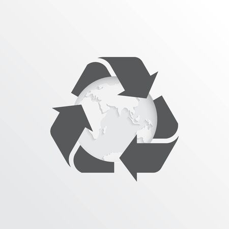 Rubbish recycling sign. Vector recycling arrows with the Earth planet. Reuse Reduce Recycle. Green vector illustration. Conscious consumption.