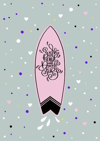 Surfing type lettering. Surfboard shop script. Vector ocean sports camp, trip banner, surf station, summer t-shirt design.