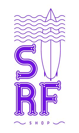 Surfing vector lettering. Surf shop. Sea extreme sport. Surf board sports camp. Vector ocean sports, trip banner, surf station, summer sports banner. Иллюстрация