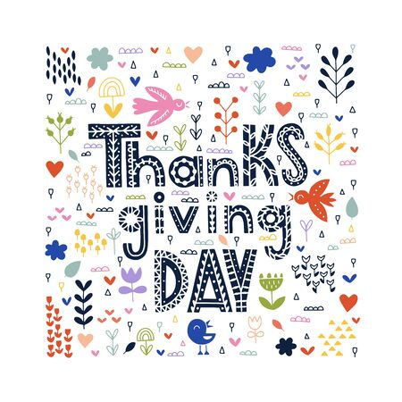 Scandinavian Thanksgiving typography. Vector Thanksgiving lettering with pumpkins, leaves, migratory birds, clouds, sparkles and confetti in fall autumn colors. Thanksgiving day floral design. Reklamní fotografie - 133551262