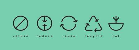Zero waste. Ecology vector web banner. Reuse Reduce Recycle Rot Refuse. Zero waste. Conscious consumption. Neo mint. Illusztráció