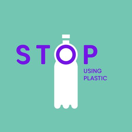 Stop using plastic bottles. Stop plastic pollution vector illustration. Plastic eco problem banner.