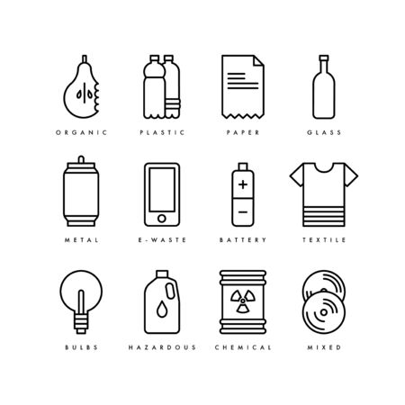 Vector waste recycling icons. Garbage sorting. Recyclable trash - organic, glass, paper, plastic, metal, textile, battery, bulbs, chemical.