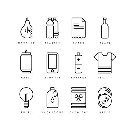 Vektor-Abfall-Recycling-Symbole. Mülltrennung. Recycelbarer Müll - Bio, Glas, Papier, Kunststoff, Metall, Textil, Batterien, Glühbirnen, Chemikalien. Vektorgrafik