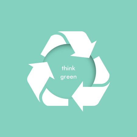 Think green. Vector rubbish recycling symbol. Vector recycling arrows. Reuse Reduce Recycle. Garbage recycling.