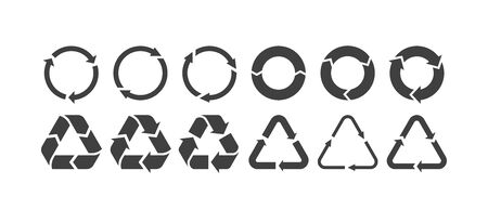 Vector rubbish recycling symbols. Vector recycling arrows. Reuse Reduce Recycle. Garbage recycling logo. Trash recycle set.