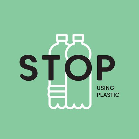 Stop using plastic bottles. Stop plastic pollution vector illustration. Plastic eco problem banner. Vector ecology concept banner. Illusztráció