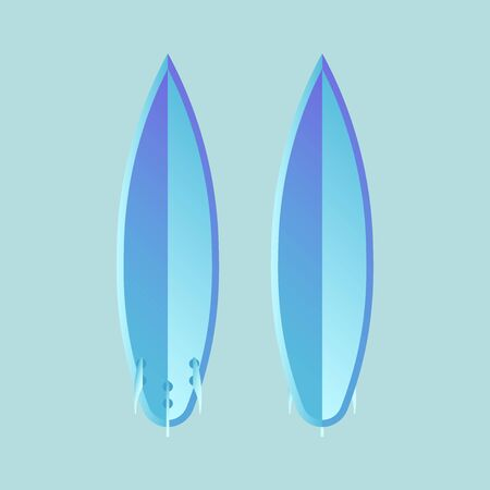 Surf board set. Surfboard silhouette template. Surf board top and back view. Vector illustration isolated.