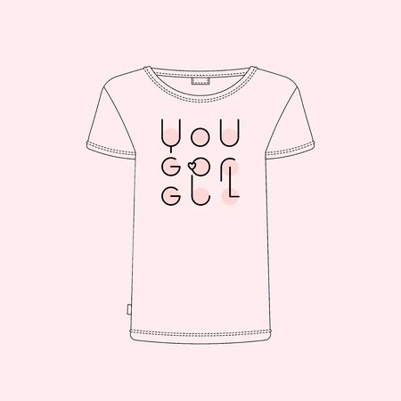 Girls vector quote You go girl. Girl power and womens right concept. Motivational and inspirational Feminism slogan for t shirts, posters and cards. Reklamní fotografie - 133552950