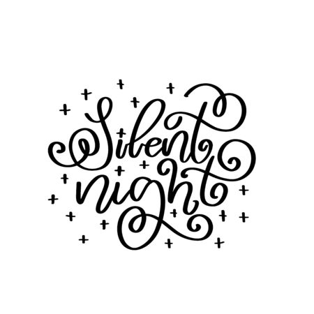 Silent night vector lettering quot. Happy New Year 2020. Christmas calligraphy phrase. Vector script, emblem, text design. Usable for banners, greeting cards, gifts.