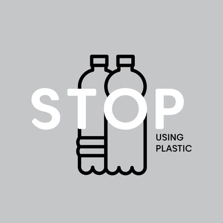 Stop using plastic bottle pollution illustration