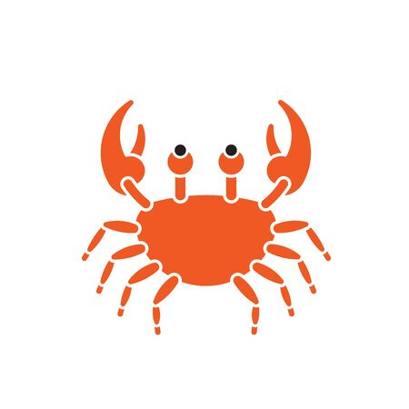 Cartoon Crab seafood silhouette illustration isolated
