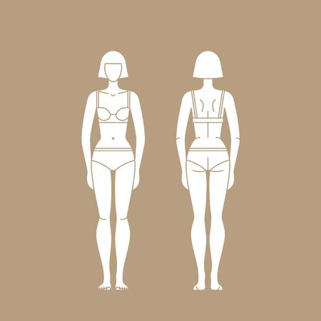 Figure woman in underwear isolated editable template.
