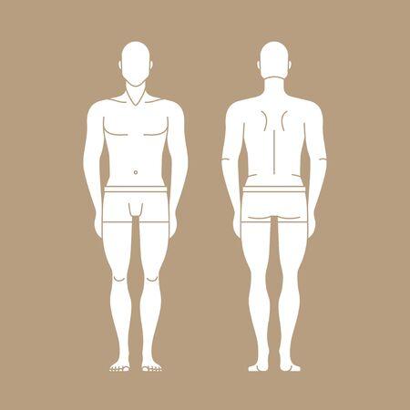 Figure man in underwear isolated editable template. Illustration
