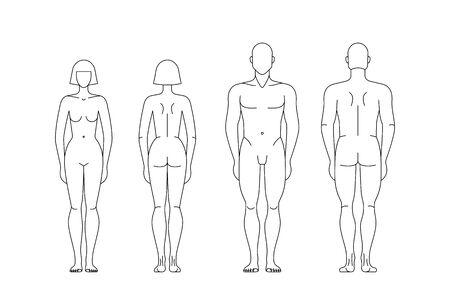 Modèles modifiables isolés de figures d'homme et de femme. Vecteurs
