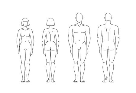 Postacie mężczyzny i kobiety na białym tle edytowalny szablon. Ilustracje wektorowe