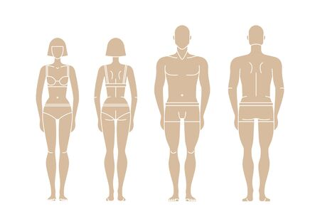 Figures of man and woman. People in underwear. Human Figure Body. Gender illustration. Outline Vector isolated editable template for measurements, fashion, fitness, medical Illustration. Vektoros illusztráció