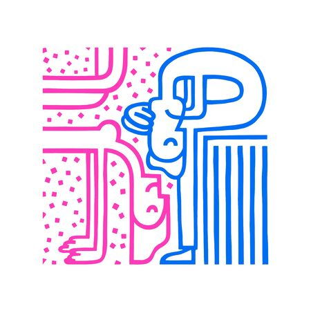 Gender difference concept. Woman and man. Gender problem. Misunderstanding concept. Girl and boy gender diversity. Vector illustration in blue and pink colour isolated. Couple relationship problem.