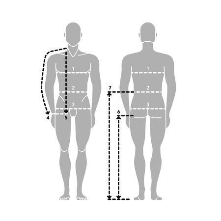 Man body measurement chart. Taking Measurement. Vector Human. Male figure front and back side. Man silhouette. Template for clothing design and sewing.