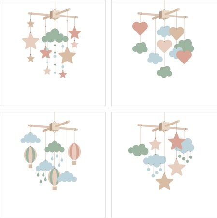 Newborn card. Baby mobile with clouds, stars, balloons, hearts.