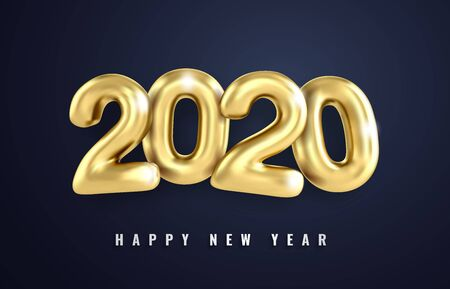 Merry Christmas greetings and Happy new year 2020 templates gold numbers