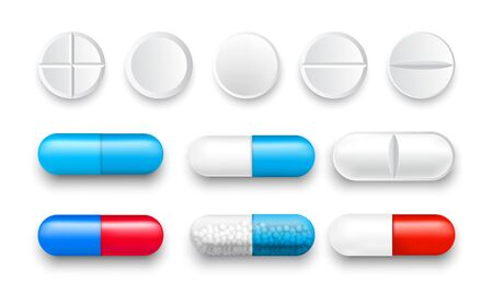 Set of vector pills and color capsules isolated Ilustrace