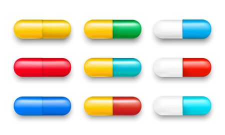 Set of vector pills and color capsules isolated. Icons of medicament. Tablets: painkillers, antibiotics, vitamins and aspirin. Pharmacy and drug symbols. Medical illustration on white background.