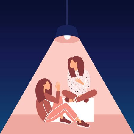 Relationship concept. Talking people illustration. Two young girls siting. Women Conversation. Communication, problem solution. Vector illustration isolated.