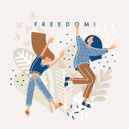 Freedom and Feminism concept. Two beautiful young joyful jumping women. The concept of girl power, friendship, healthy, happiness, lifestyle. Flat Vector character girl illustration isolated