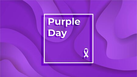 Purple Day epilepsy awareness. Epilepsy day, March 26, text on a purple background. The banner is made in the form of waves of liquid cut out of paper.