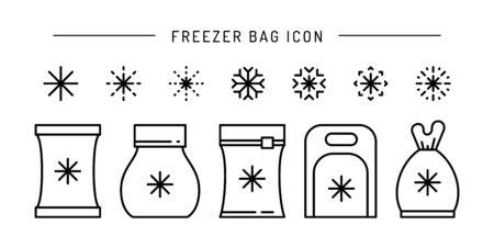 Set vector frozen food bag icon outline Illustration