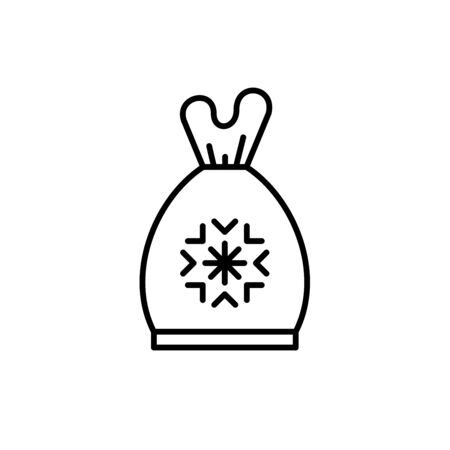 Vector frozen food bag icon outline. Simbol linear illustration of packaging for frozen and vacuumed food. Containers and bags for food semi-finished products frozen.