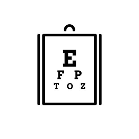 Eye test chart line art icon. Outline, linear vector icon Poster for vision testing. Ilustracja