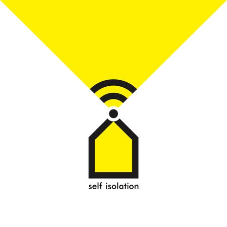 Quarantine self isolation concept. Stay at home. Online life because of coronavirus quarantine. House nd wi fi symbols. Stock Illustratie