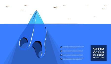 Plastic bag iceberg ocean pollution. Plastic garbage global problem.