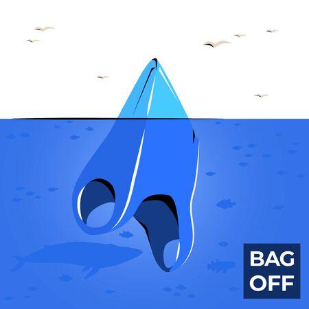 Plastic bag iceberg ocean pollutio vector banner.