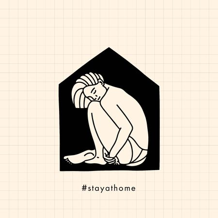 Stay at home concept. Pandemic of coronavirus and social distancing. Self quarantine. Home Quarantine illustration. Corona virus self isolation period at home. Lonely young sad girl at home. Illusztráció