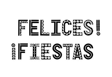 Fiesta black and white banner. Festive vector illustration with hand drawn letters with decorations. Fiesta sign, emblem, banner, card design. Felices fiestas